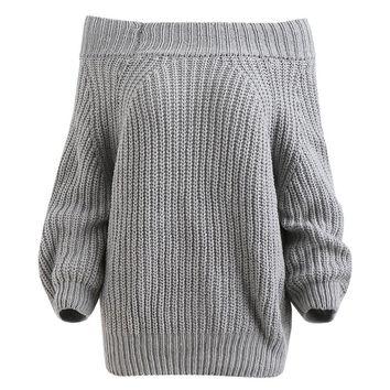 Wipalo Slash Neck Off Shoulder Sexy Elastic Knitting Pullover Female Long Sleeve Knitted Sweater Women Jumper Pull Knit Shirt