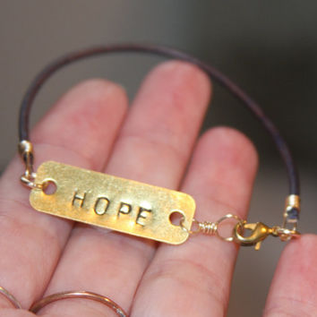 Hope Brass Bracelet, Hand Stamped Bracelet, Leather Bracelet, Mens Bracelet, Womens Bracelet, Inspirational Jewelry, Recovery Jewelry