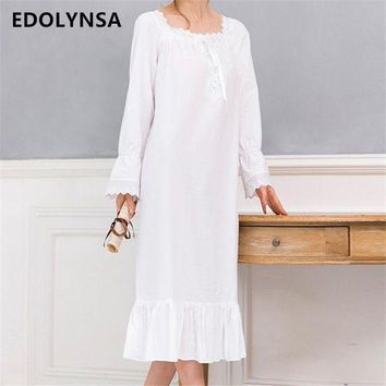 DCCKL3Z New Arrivals Vintage Nightgowns Sleepshirts Elegant Home Dress Lace Sleepwear Women Sleep & Lounge Soft Cotton Nightgown #H120