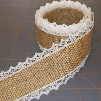 Natural Burlap Ribbon with Ivory Lace - 2 inch x 3  yards