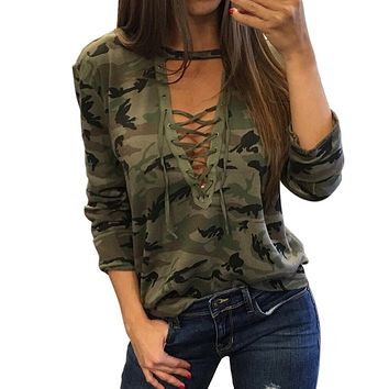 Sexy Camouflage Tops Women Camo T Shirt V Neck Lace Up Bandage T-Shirt Casual Ladies Loose Long Sleeve Tee Shirts Femme Blusas