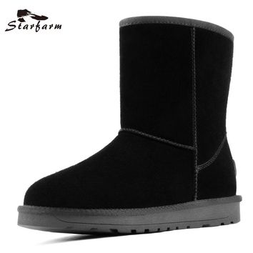 STARFARM Real Leather Snow Boots Warm Shoes Russian Boots Women Shoes Woman Wool Bootie black grey Winter Shoes Fur Booties New