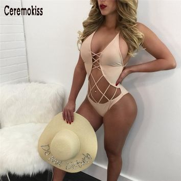 ceremokiss 2017 off shoulder  hollow out sexy women body suits swimwear solid cross bandage swimsuit  slim  fit swimwear