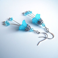 Flower Earrings,  Vintage Inspired, Aqua Blue Resin Flowers, Swarovski Crystals, Silver Filigree