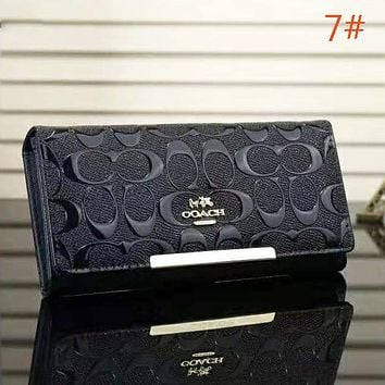 COACH Fashion Women New Pattern Print Leather Handbag Purse Wallet Navy Blue