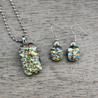 Brown Yellow Green Blue Fused Dichroic Glass Pendant and Earring Set, Fused Glass Jewelry, Dichroic Jewelry, Dichroic Pendant, Glass Jewelry