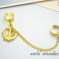 Anchor Ear Cuff Set,golden anchor earrings,sailor pirate ear cuffs earrings
