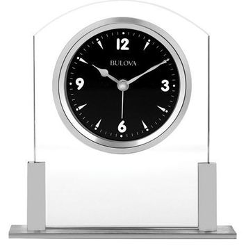Bulova Newton Executive Desk Alarm Clock - Floating Black Dial - Silver-Tone