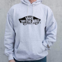 Vans Fashion Print Logo Casual Long Sleeve Hooded Sweater Grey