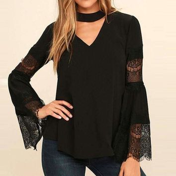 Womens Flare Sleeve Lace Patch Deep V Chockers Solid Shirt