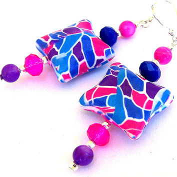 Large blue and pink earrings, artisan polymer clay, fuchsia, blue and purple, abstract mod 1960s hippie