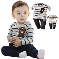 Baby Boys Bear Toon 2 PC Set Shirt Pants