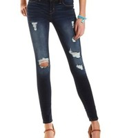 "Refuge ""Skin Tight Legging"" Destroyed Skinny Jeans - Dark Wash Denim"