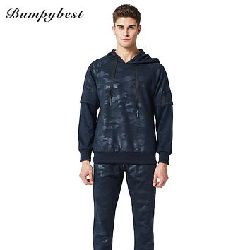 Men Sets New Tracksuit Camouflage Print Hooded Sweatshirt Two Piece Hoodies Pants Sportswear Set