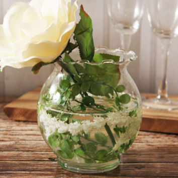 Luminous Glass 5 Fluted Fish Bowl Vase