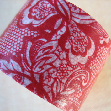 Washi Tape - Single Roll - Faux Lace Print - Red