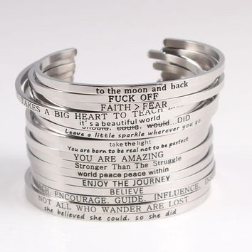Quotes Mantra Bracelets 316L Stainless Steel Open Cuff Bangle Fashion Women Female Inspirational Jewelry Bracelet