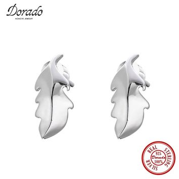 Dorado Real 100% 925 Sterling Silver Leaves Earrings For Women S925 Stamp Silver Stud Earring Anti-allergic Fashion Jewelry