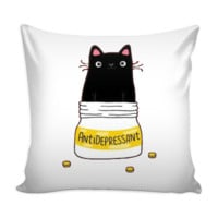 AntiDepressant Cat Cushion Cover