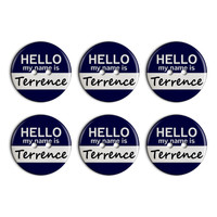 Terrence Hello My Name Is Plastic Resin Button Set of 6