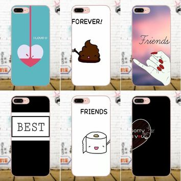 Best Friends Emoji BFF For Samsung Galaxy A3 A5 A7 J1 J3 J5 J7 2016 2017 S5 S6 S7 S8 S9 edge Plus Soft TPU Case Coque Cover