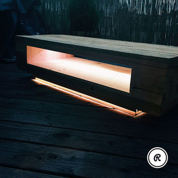 Retro coffee table solid wood; including indirect LED lighting, Upcycling, solid & individual, industrial design