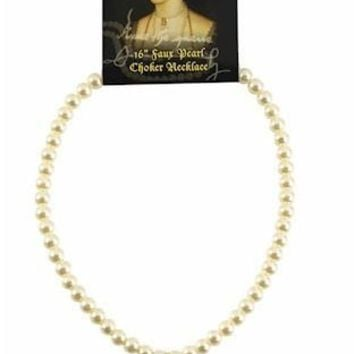 Anne Boleyn Pearl Necklace with B Initial Museum Replica 16L