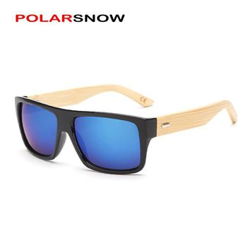 POLARSNOW 2017 Bamboo Sunglasses Men Wooden Sunglass Women Brand Mirror Original Wood Sun Glasses Oculos De Sol UV400 Eyewear