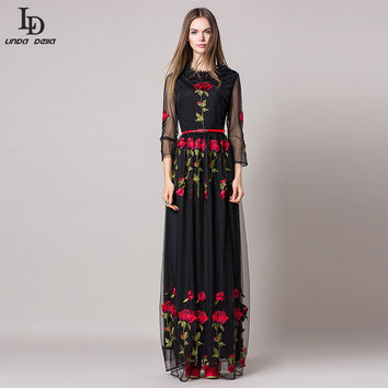 Desugual Elegant Lace Long Dress 2016 Runway Women Long Sleeve Rose Floral Mesh gauze Sexy Perspective Embroidered Maxi Dress