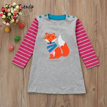 Toddler Baby Girl Kid Autumn Winter Clothes Fox Bird Print Embroidery striped Princess Party Dress long sleeve children outfit