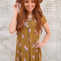 Colorado Rose Lace Up Dress Mustard