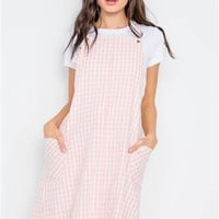 Checkered Overall Shift Dress