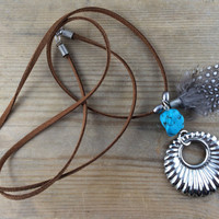 Turquoise, Feather and Silver Long Necklace/ Turquoise Pendant Necklace/ Turquoise Necklace/ Turquoise Long Necklace/ Bohemian Fringe/ Boho