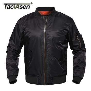 TACVASEN Ma1 Men Bomber Jacket Thick Winter Army Green Military Motorcycle Jacket Ma-1 Pilot Air Force Flight Jacket TD-LXZ-001