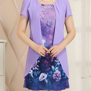 Streetstyle  Casual Round Neck Floral Extraordinary Shift Dress