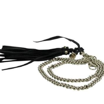 $495 New Gucci Women's Gold Chain Belt with Black Leather Tassel 388992 8061