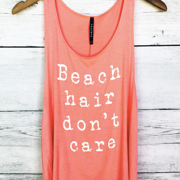 Beach Hair Don't Care Tank Top in Coral