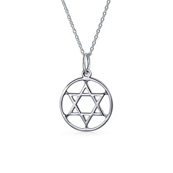 Circle Disc Star OF David Magen Je Pendant Necklace Sterling Silver