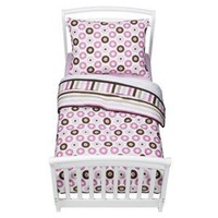 Bacati Pink/Chocolate Mod Dots Toddler Bedding Set