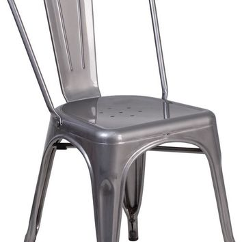 Clear Coated Metal Indoor Stackable Bistro Chair