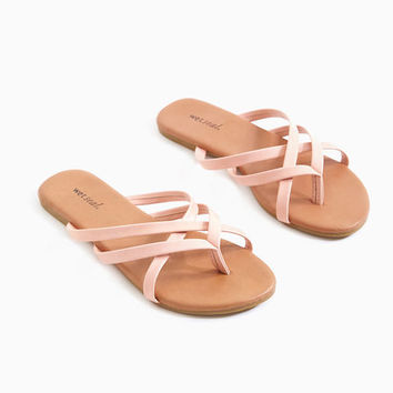 Strappy Vegan Leather Sandals | Wet Seal