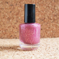 "Handmade NonToxic Polish - ""Primadonna"" 3 free nail lacquer swag pink shade tons of glitter glamourous cute girly"
