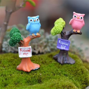 1pcs Resin Owl & Tree Branch Mini Crafts Miniatures Fairy Garden Ornaments