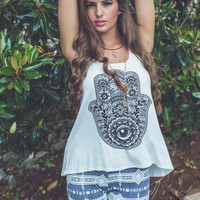 Graphic Hamsa Tank Top in Ivory