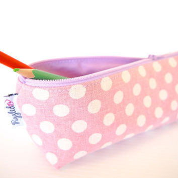 Zippered Pencil Case / Pouch - Pink and White Polka Dots