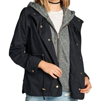 Terry Hood Layered Utility Jacket in Black