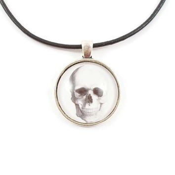 Skull choker, human skull cameo, skull necklace, white skull, Gothic choker, skull jewellery, leather cord choker, UK seller, LisasPieces