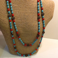 Southwestern turquoise and rust colored bead necklace set