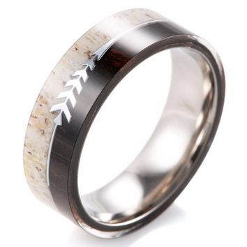 Men's Titanium, Deer Antler, and Ironwood, Band Ring | Sterling Arrow Inlay | 8mm