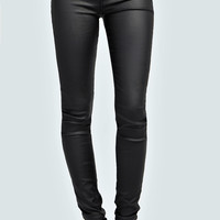 Tia Wet Look Zip Detail Jeans